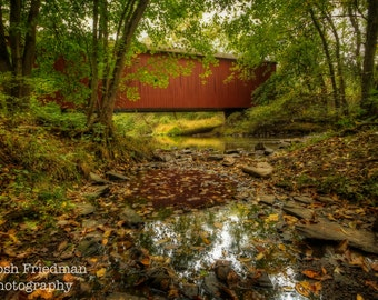 Pine Valley Covered Bridge in Autumn Landscape Photograph Fall Leaves Bucks County Pennsylvania Stream Fine Art Photography Red Art Print