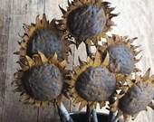 Handmade Primitive Sunflower Pokes, Rustic Farmhouse Country Decor Sunflower Heads, Set of 3