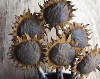 Handmade Primitive Sunflower Pokes, Primitive Decor, Sunflower Heads    Set of  3