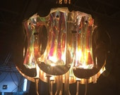 Beautiful 1960s Brass and Lucite Chandelier