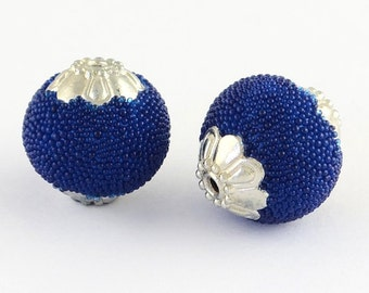 Midnight Blue Antique Silver Metal Round Handmade Indonesia Beads -5