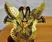 ON SALE Gold tone Turtledove Christmas Ornament, Christmas and Holiday decor