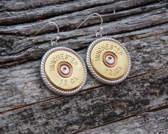 Shotgun Earrings-Winchester 12 Gauge Jewelry- Win 12 Gauge Earrings-Winchester Dangle Earrrings-French Hooks-Dangle Shotgun Accessories