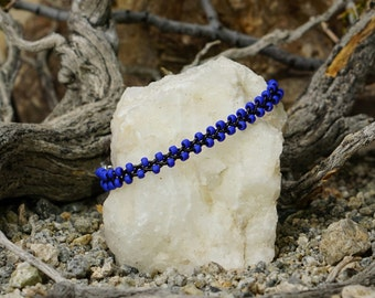 Braided bead bracelet, beaded bracelet, leather bead bracelet, blue and black bracelet, black leather and blue beads bracelet