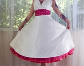 "1950's Rockabilly ""Fenella"" Wedding Dress with Polka Dot Waistband and Matching Petticoat - Custom Made to Fit - Any Colour"