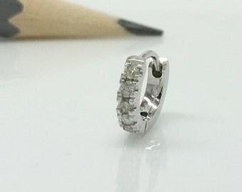 Men's hoop earrings, argent diamond hoop earrings, solid gold earrings, diamond cartilage earring, April birthstone E008.5