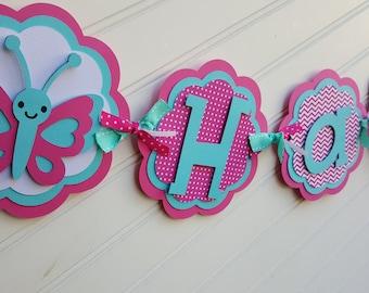 Girls butterfly Birthday banner.  Garden Birthday banner.  Pink and Aqua banner.  Happy Birthday banner.  Name banner.  Butterfly decoration