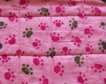 SALE! Pink Paw Prints! Quilted Pet Mat