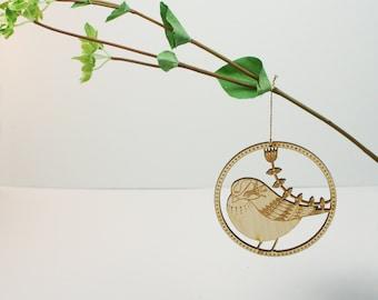 Wooden Bird Hanging Decoration