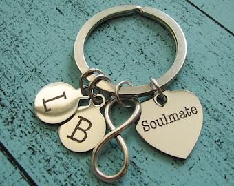 gift for husband wife, anniversary gift, boyfriend anniversary gift, soulmate keychain, wedding gift for him, birthday gift for wife husband