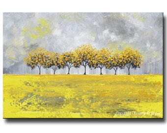 GICLEE PRINTS Large Art Yellow Grey Abstract Tree Painting Landscape Modern Home Wall Decor Coastal Canvas Print Gold White SIZES -Christine