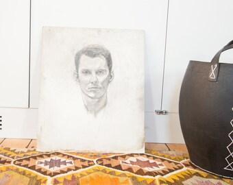 Vintage Unfinished Sketch of Man