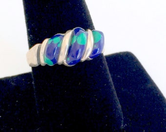 Silver and Azurite Ring Blue and Green Vintage 1970's Size 9 1/2