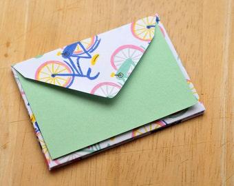 SALE-Bicycle Mini Cards // Set of 4 // Enclosure Cards // Gift Card Envelopes // Birthday Card // Keepsake Envelope // Advice Card