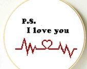 PS I love you cross stitch pattern. Love message. Valentine.s Day gift for him. Home decor, wall art,  hanging, picture frame. PDF Download