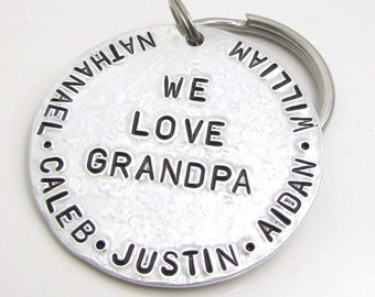 Personalized Father's Day Gift, Personalized Keychain - Gift for Grandpa, Grandpa Keychain, Hand Stamped Keychain, Grandpa Gift (010)