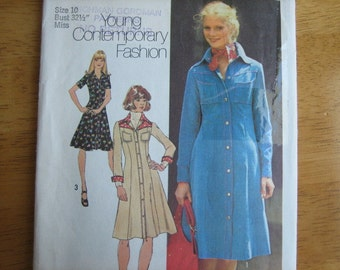 Simplicity Pattern 7170 Misses' Shirt-Dress     1975       Uncut