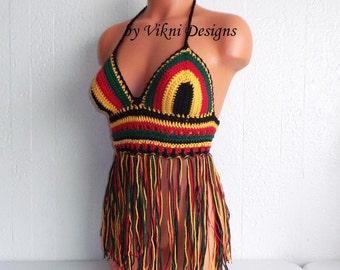 Rasta Fringe Halter Top, Crochet Festival Fringe Top, Gypsy Hippie Top by Vikni Designs