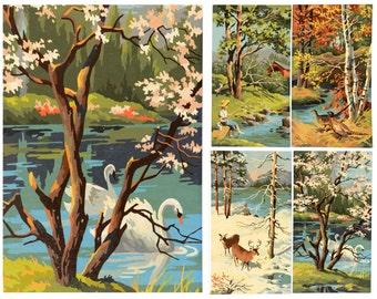 Paint by number, mid century modern, set of 4, seasons, art, wall art, spring, autumn, winter, summer, robins egg blue, spring green, 18x10