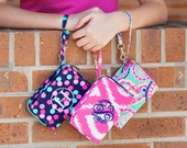 Monogrammed Wristlet Wallet with Strap iPhone Holder Embroidered Wristlet Monogrammed Wristlet