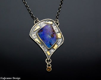 Ride Like the Wind -  Boulder Opal Sterling Silver Necklace