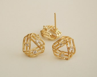 2 Pcs -  Matte Gold Triangle with Cubic Zirconia  Brass Jewelry Making  / 11mm x 11mm.