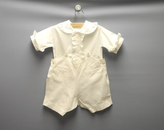 Vintage Baby Clothes, 1920's Handmade White Ruffled Two Piece Baby Boy Romper, Vintage Baby Romper, White Baby Romper, Size 24 Months