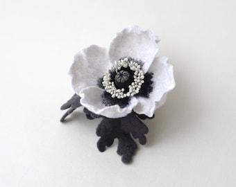 Hair clip flower felt white poppy, hair accessories, hair clips for girls, felt hairclip