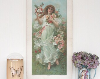 Vintage Poster Print Of Lady & Flowers, Azaleas