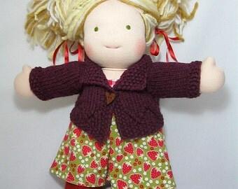 Handknit Waldorf Doll Cardigan~ 15-16 Inch