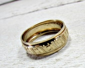 Vintage Mens Gold Band Ring,10K  Gold Filled Ring, Abstract Modernist Ring, Wide Gold Band Ring, Size 9, 1960s Unique Cool Mens Jewelry Gift