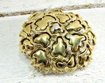 Vintage ROGET Moderntist Brooch Pin, Abstract Flower Brooch, Large Gold Brooch, 1950s Costume Jewelry, Mothers Day, Gift for Mom Friend Her
