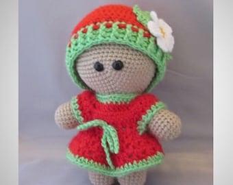 Crochet Amigurumi Baby Doll with colorful Srawberry Dress, Super cute, Cuddly Baby Doll, Soft Toy, Waldorf Doll, Stuffed Doll, Rag  Doll