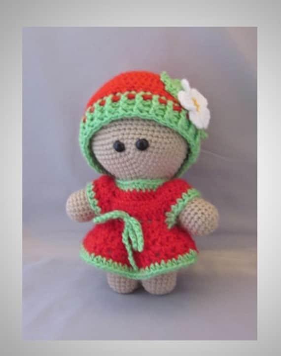 Amigurumi Crochet Dress : Crochet Amigurumi Baby Doll with colorful Srawberry Dress