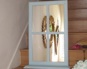 Cottage Window Mirror with Shelf Shabby Chic - Distressed in Beach Sky Blue