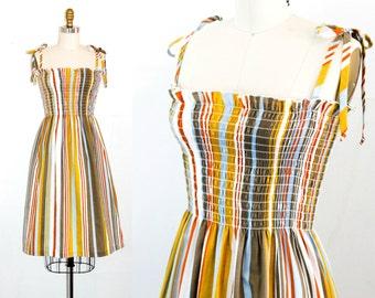 Vintage 1970s dress . Meet Me at the Fair . awning striped sundress . vintage smocked dress