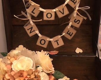 Wedding Cards Box Banner- Shabby Chic Mini Love Notes Banner -Wedding Reception Decor -Love Notes Sign- Wish Tree Banner
