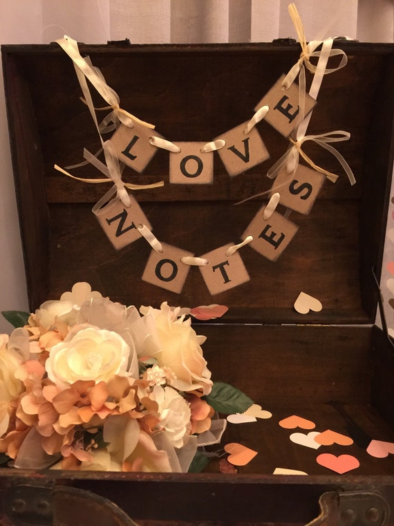 Wedding Cards Box Banner- Shabby Chic Mini Love Notes Banner -Wedding Reception Decor -Love Notes Sign- Wish Tree Banner