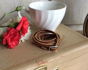 Reddish Brown Leather Wrap Bracelet with Adjustable Buckle