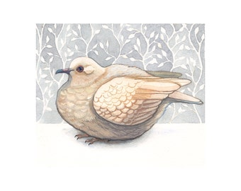 Bird Art Print - Dove Art - Watercolor Painting Print - Woodland Home Decor