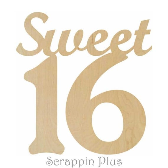 Items similar to sweet 16 wooden decor a100909 3 4 in for 16 wooden letters