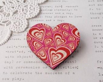 Wooden Loveheart Heart Pink Lovehearts Brooch