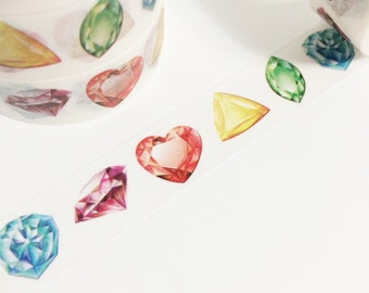 Gorgeous Detailed Colorful Shaped Gems Diamond Emerald Ruby Colorful Jewels Washi Tape 11 yards 10 meters 15mm