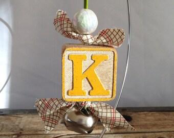 Christmas ornament vintage wooden blocks letters classic home decor jingle bells plaid alphabet blocks