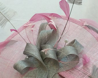 Baby pink and silver grey head piece.