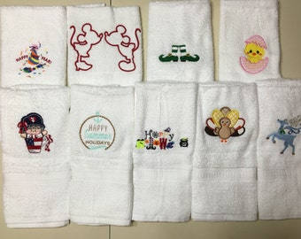 9 Holiday Embroidered and Appliqued Hand Towels.