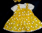 "Yellow and White Bumblebee Print Jumper, Blouse, Headband & Booties  Set Fits Bitty Baby or Other 15"" Baby Dolls"