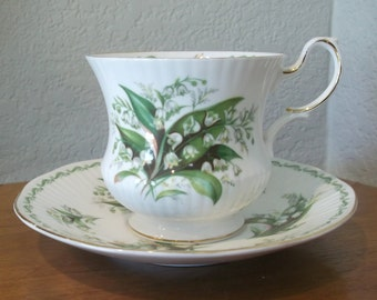 Vintage Queen's Special Flowers, May Lily of the Valley Fine Bone China Teacup and Saucer, Rosina China Co. Ltd, England