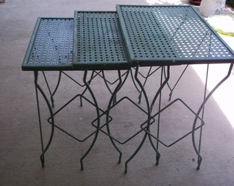 mid century nesting tables metal reticulated patio French country etc 3 pc set...Reduced..WAS 129.99