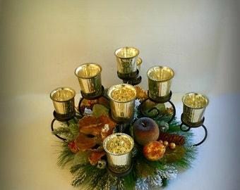 ON SALE Elegant Christmas Magnolia Centerpiece Wrought Iron Candle Centerpiece Holiday Sugar Gilded Fruit Table Floral Arrangement Home Deco